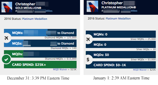 """Chris """"officially"""" became a Delta Platinum after midnight Eastern - right as those points slider totals were wiped out to start the year."""