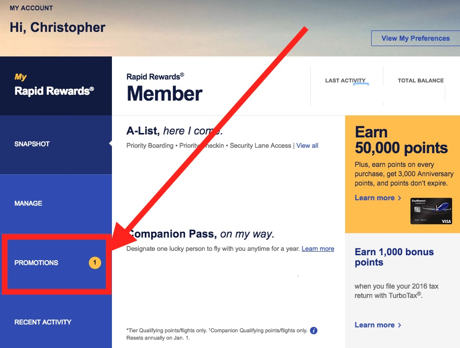Southwest Airlines frequent flyer Rapid Rewards member homepage.