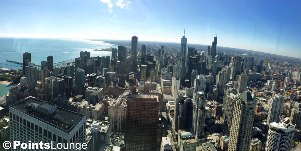 A view from The Signature Room at the 95th®, the John Hancock Tower restaurant in Chicago.