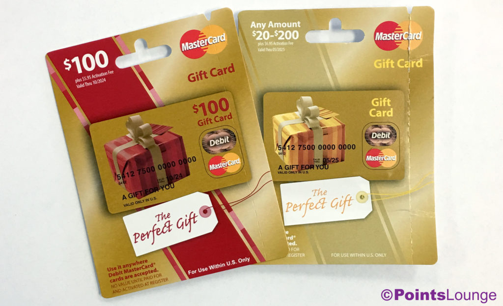 MasterCard gift card packaging: $100 gift card and $20-$200 variable gift card.