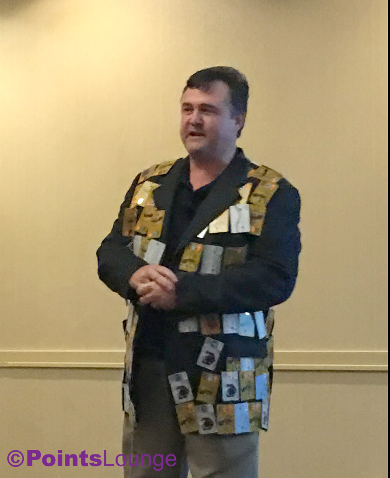Rene de Lambert (from Rene's Points) -- decked out in his gift card-decorated sport coat! -- speaks during the 2016 Chicago Seminars.