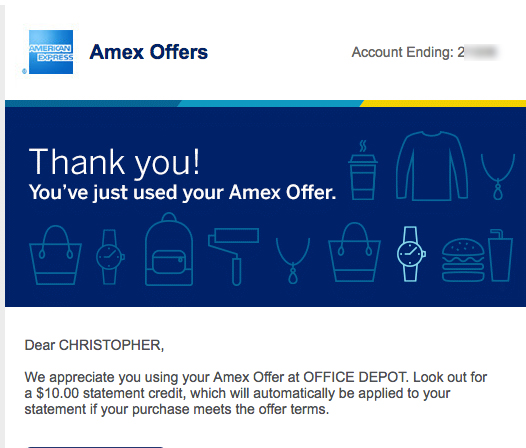 First Amex offer redeemed at Office Depot.