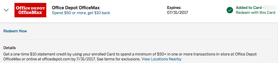 Amex Office Depot Offer: Receive a $10 credit when spending $50.