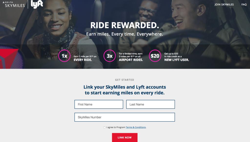 The Delta - Lyft partnership homepage.