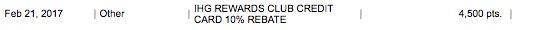 IHG Rewards Club 10% points rebate -- thanks to holding the IHG credit card.