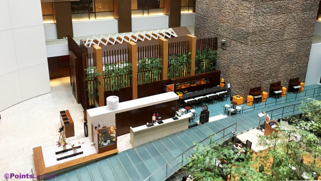 The lobby and atrium at The Strings by InterContinental Tokyo.