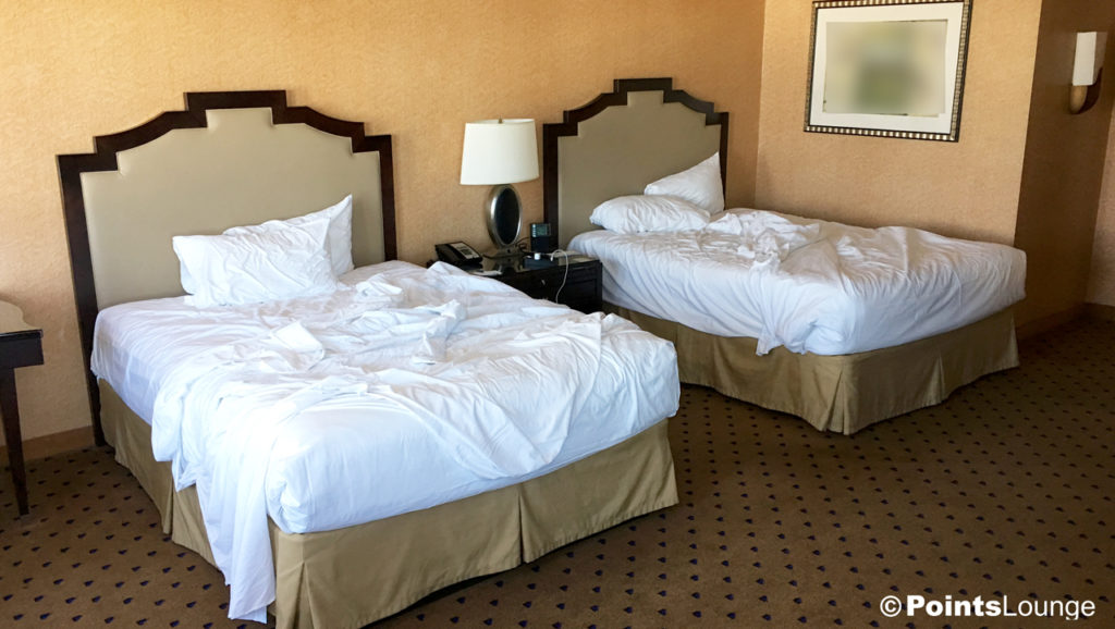 Unmade beds prior to housekeeping service at New York-New York Las Vegas Hotel Resort Casino.