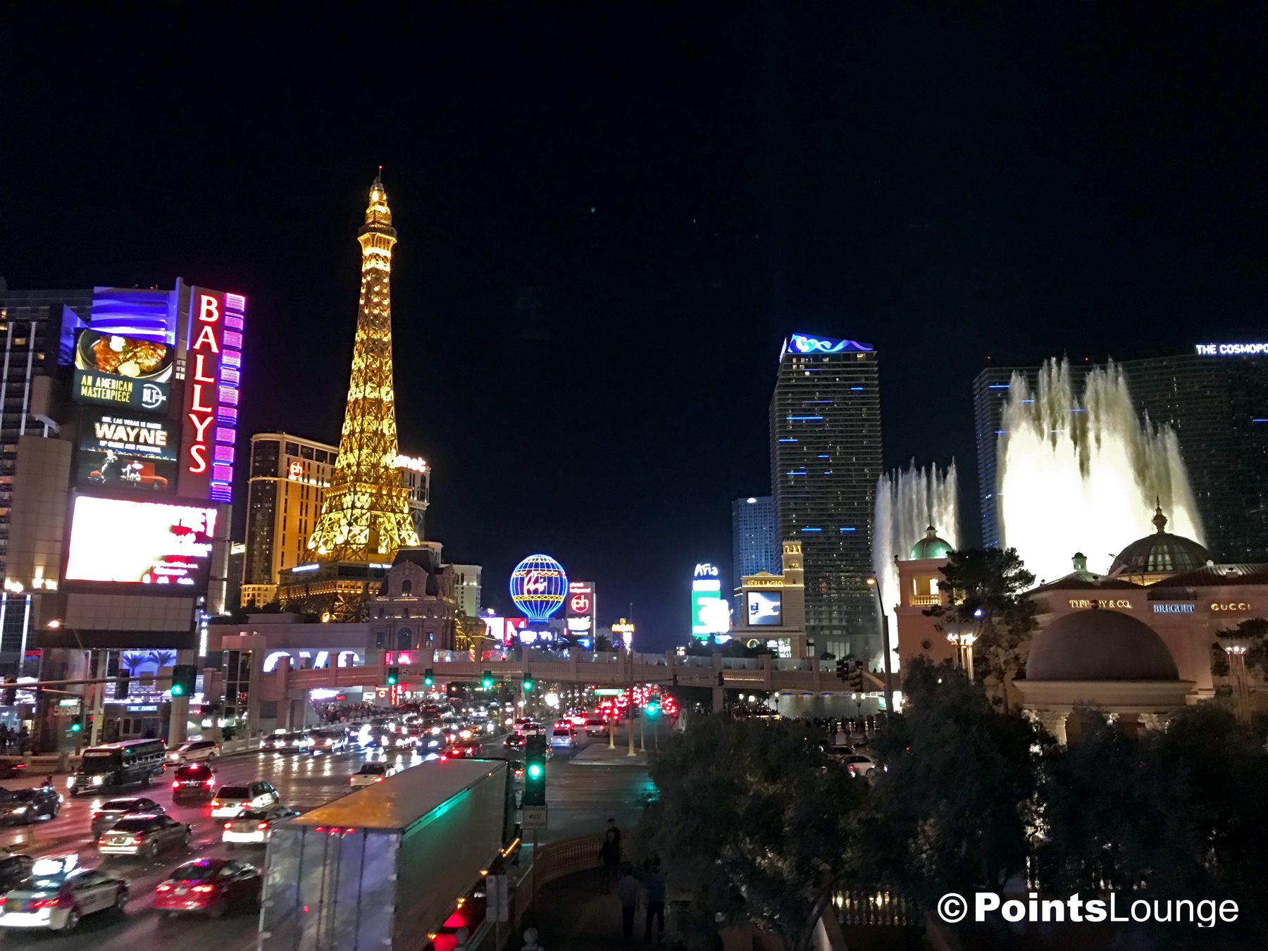 The Las Vegas Strip at night -- looking south from Caesars Palace.