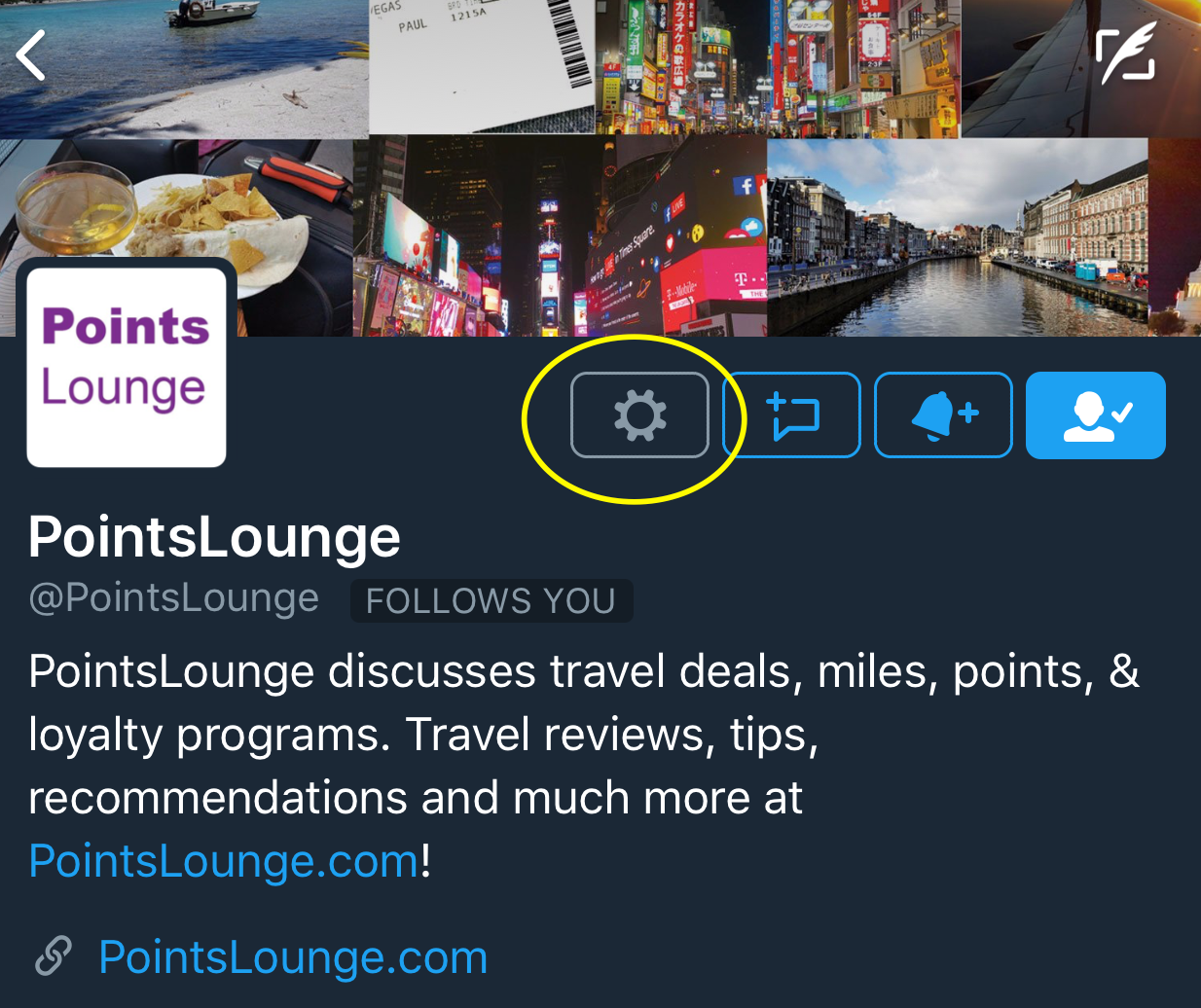 PointsLounge Twitter account home.