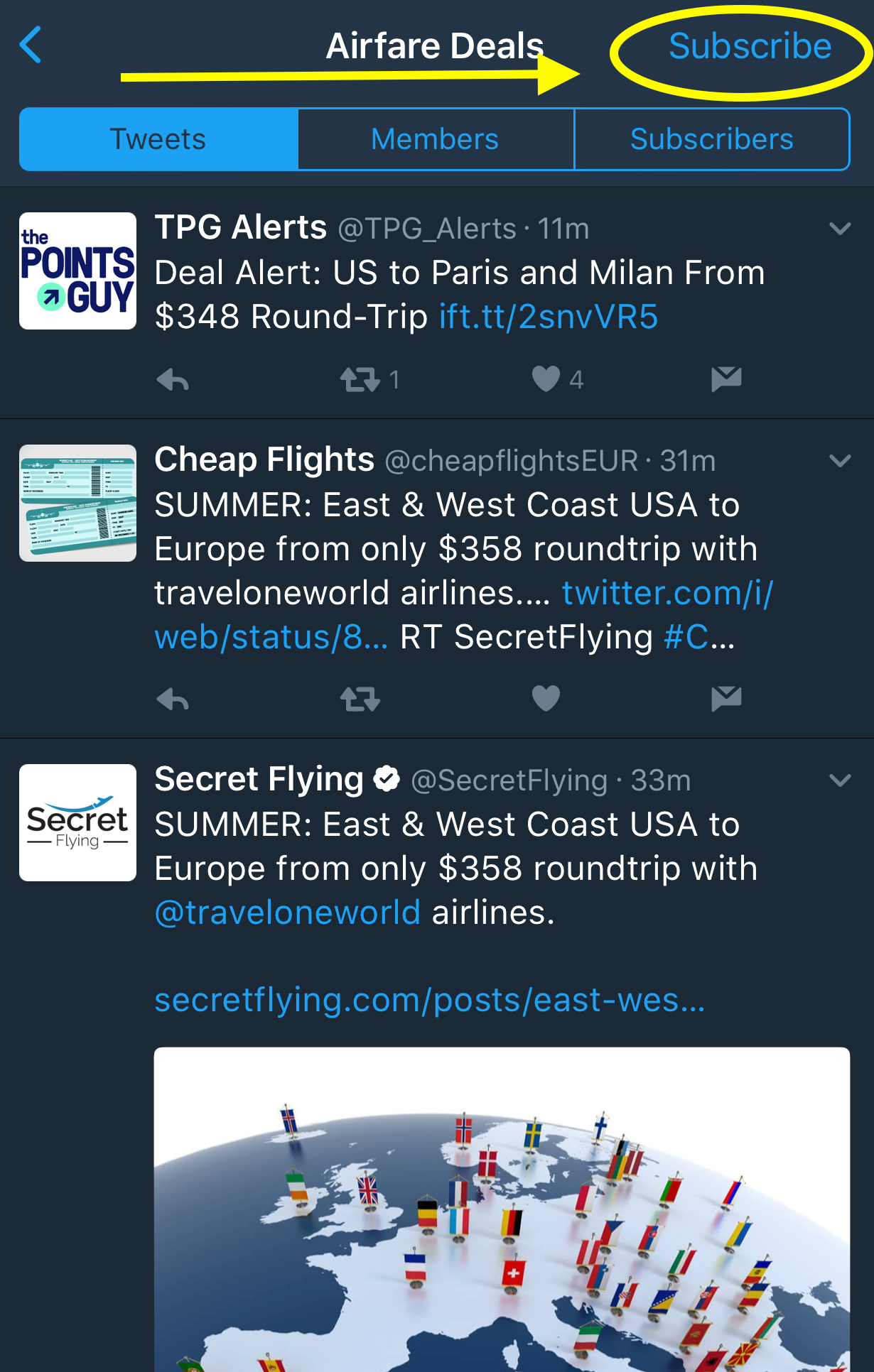 "Tap or click ""Subscribe"" on ""Airfare Deals"" list on PointsLounge's Twitter."