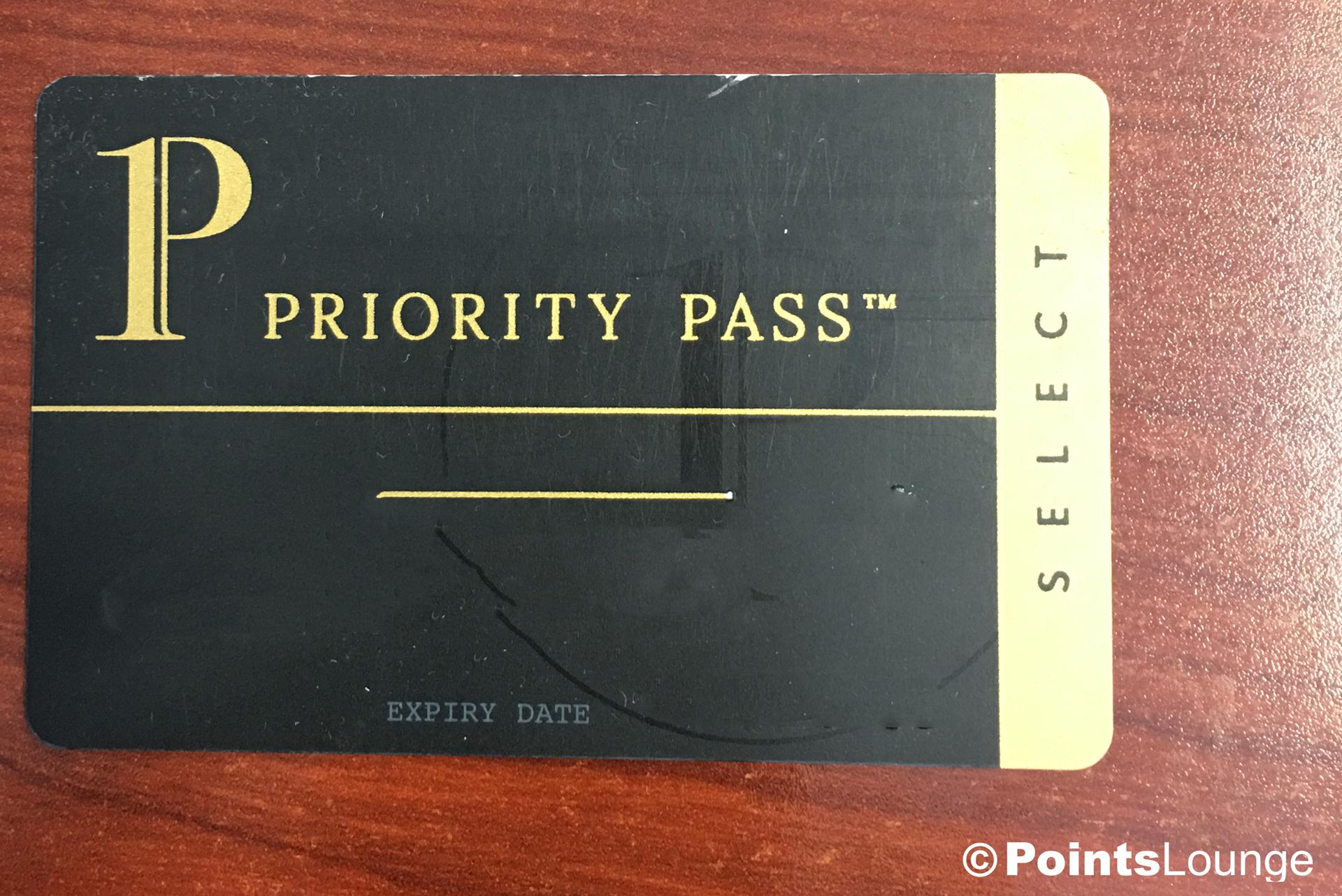 Priority Pass Select membership card.