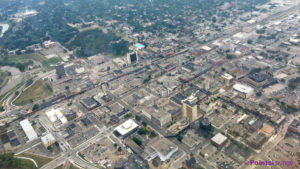 Downtown Fargo, Island Park, and the surrounding area as seen from a Delta Air Lines flight in July 2017.