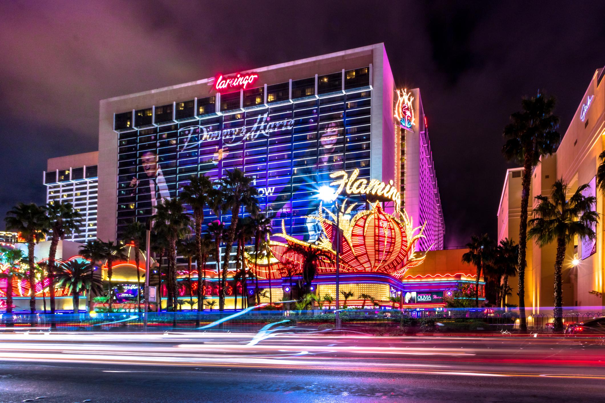 Las Vegas, Nevada, USA: Las Vegas Strip and Flamingo Hotel Casino at night