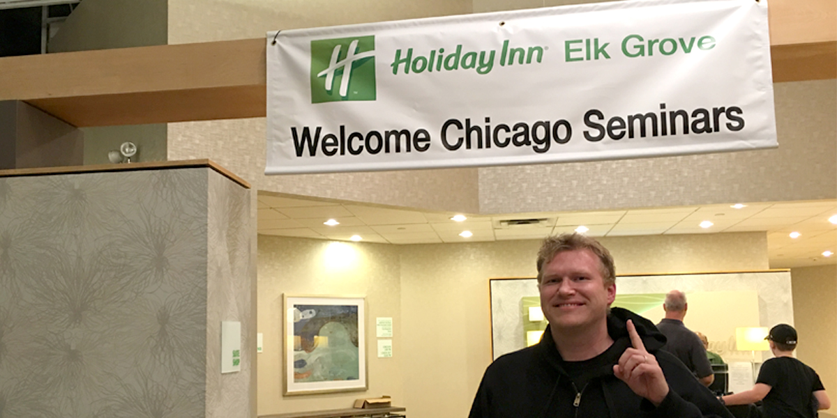 Chris Carley of PointsLounge.com poses during the Chicago Seminars. IHG Accelerate Fall promotion takes place during the annual points and miles event.