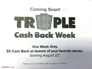 An announcement for cash back shopping portal Ebates Triple Cash Back Week 2017, which begins August 22. (Click for a larger image.)