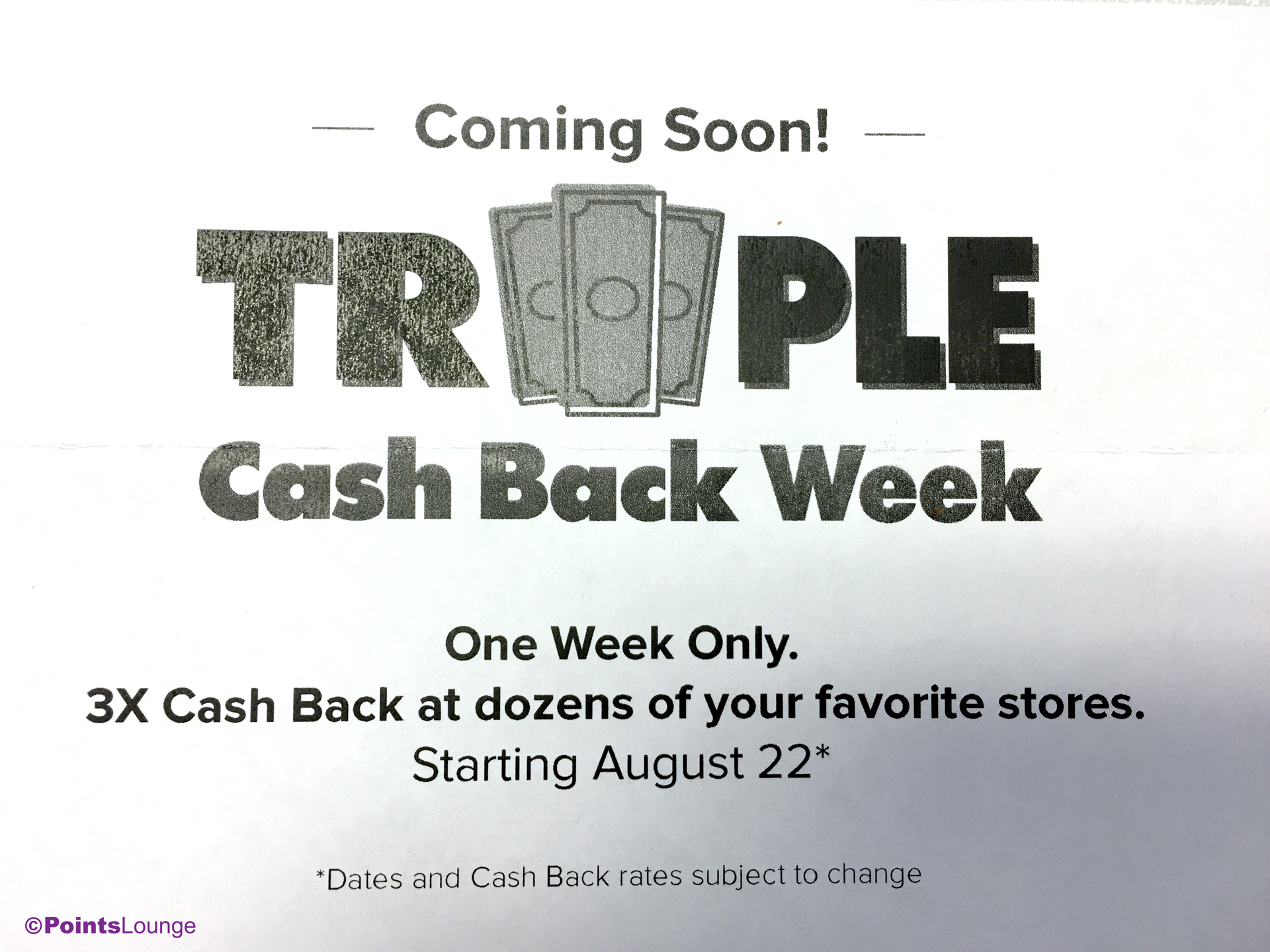 An announcement for Ebates Triple Cash Back Week 2017, starting August 22. (Click for a larger image.)