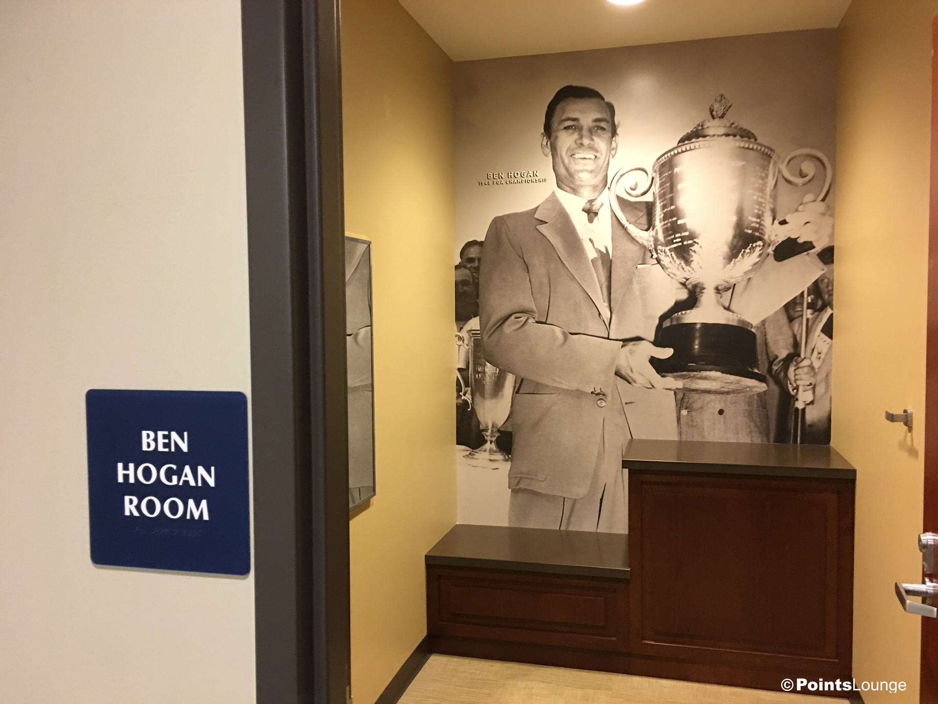 A view of the Ben Hogan Room inside the PGA MSP golf-themed airport lounge at the Minneapolis-St. Paul International Airport. One of the ways the lounge can be accessed is with Priority Pass membership. (Click for a larger image.)