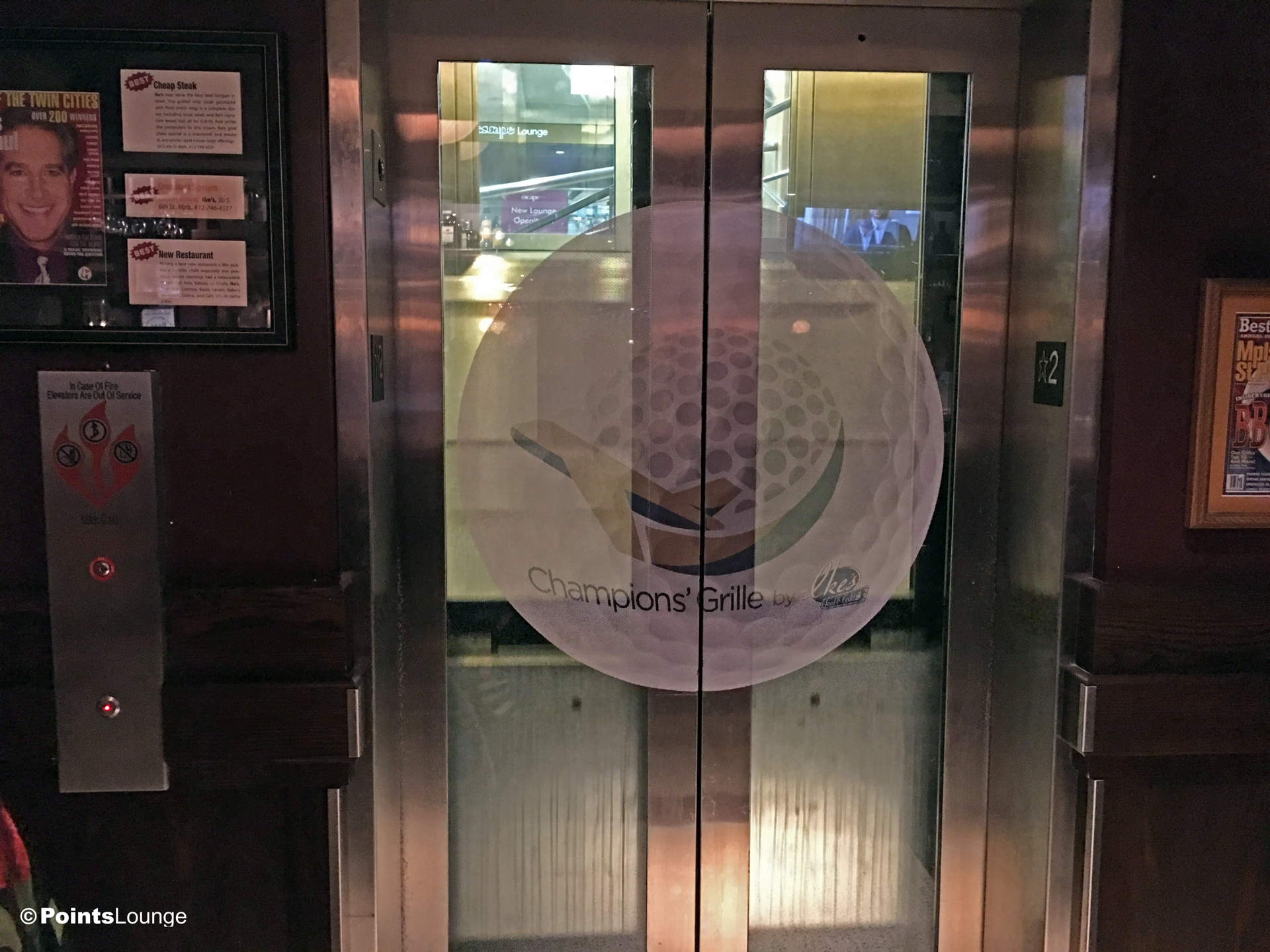 A view of the elevator to Ch&ionu0027 Grille by Ikeu0027s and the PGA MSP golf & PGA-MSP-Airport-Golf-Lounge-Champions-Grill-Ikes-Elevator-Doors ...