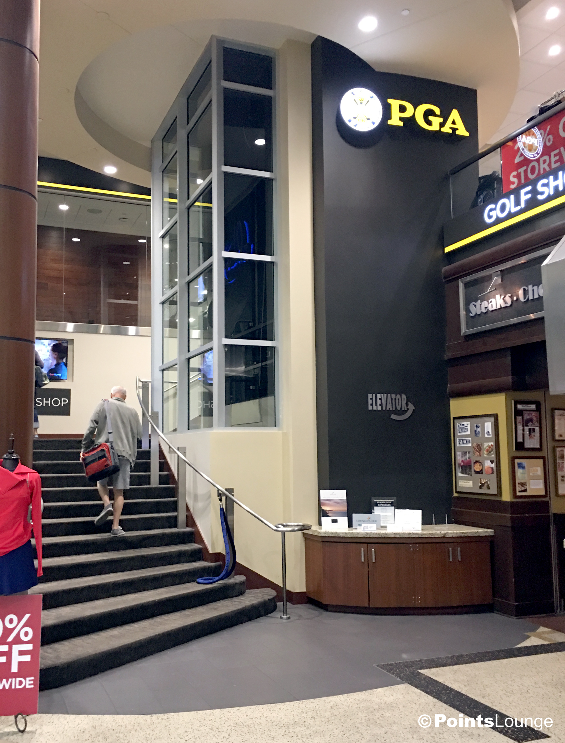 A view of the entrance options to the PGA MSP golf-themed airport lounge, as seen from the main course atrium at Minneapolis-St. Paul International Airport. One of the ways the lounge can be accessed is with Priority Pass membership. (Click for a larger image.)