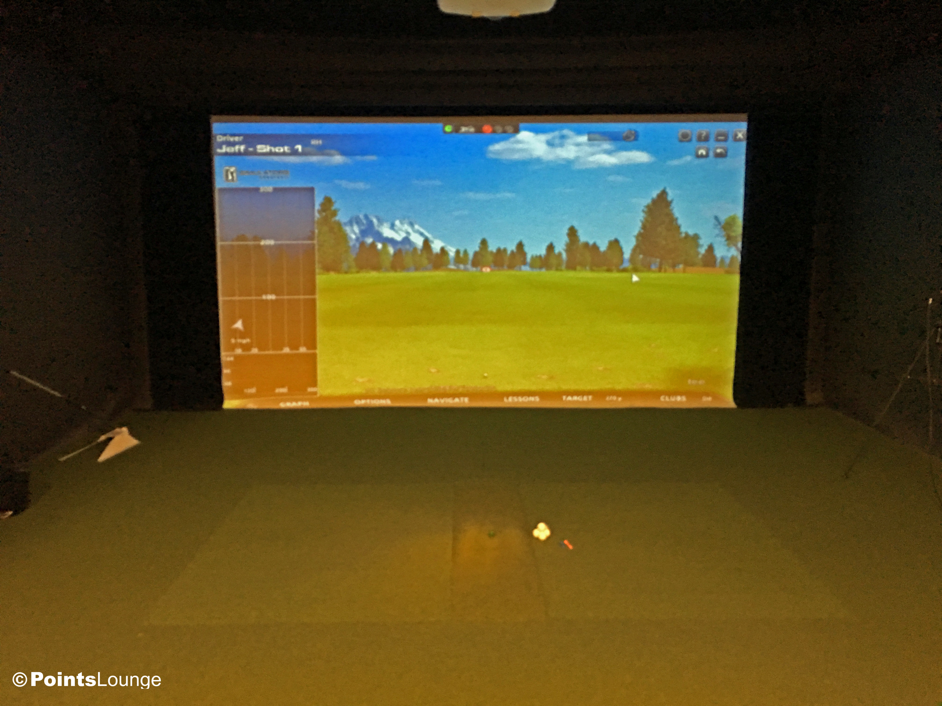 A view of a golf simulator inside the PGA MSP golf-themed airport lounge at the Minneapolis-St. Paul International Airport. One of the ways the lounge can be accessed is with Priority Pass membership. (Click for a larger image.)