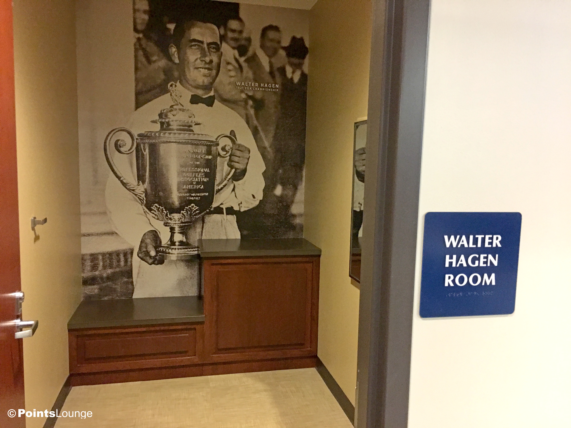 A view of the Walter Hagen Room inside the PGA MSP golf-themed airport lounge at the Minneapolis-St. Paul International Airport. One of the ways the lounge can be accessed is with Priority Pass membership. (Click for a larger image.)